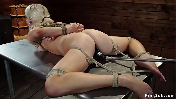 Small tits tied blonde is machine banged